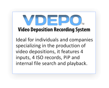 Ideal for individuals and companies specializing in the production of video depositions, it features 4 inputs, 4 ISO records, PiP and internal file search and playback. Video Deposition Recording System TM VDEPO
