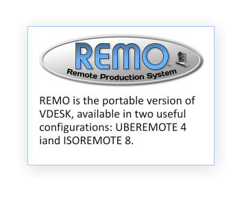 REMO TM  Remote Production System REMO is the portable version of VDESK, available in two useful configurations: UBEREMOTE 4 iand ISOREMOTE 8.